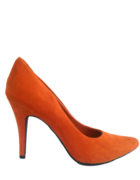 Orange Suede Court Shoes   Heart Of Style