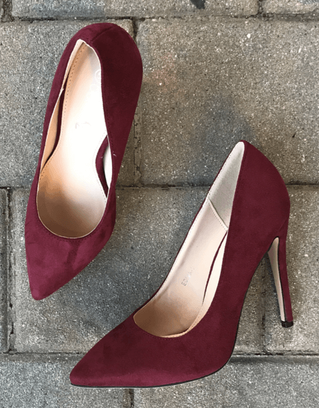 Burgundy Suede Pumps | Heart Of Style